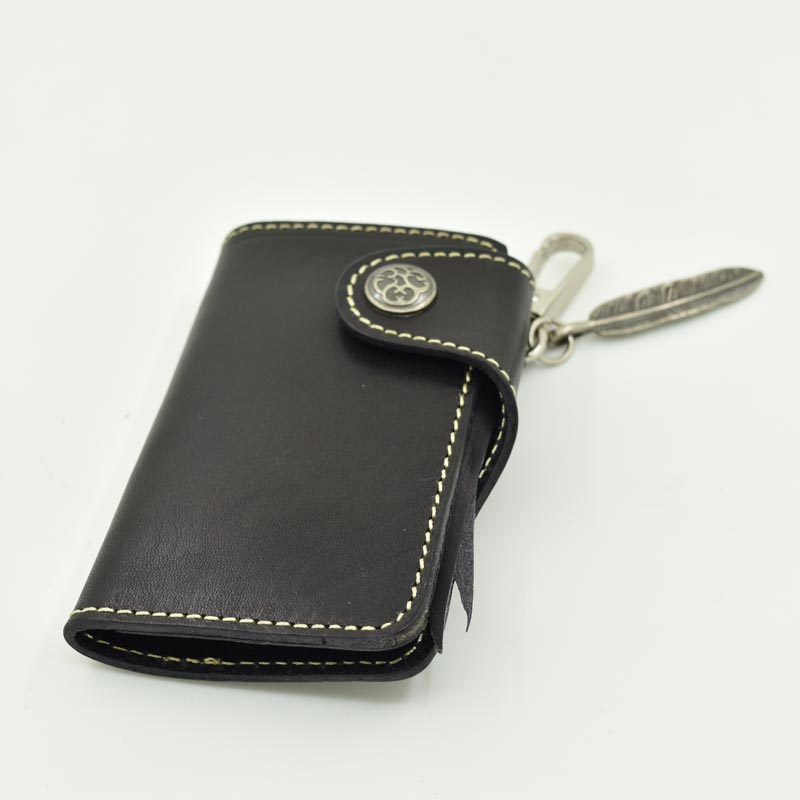 Custom Full Grain Leather Key Holder Wallet With Chain
