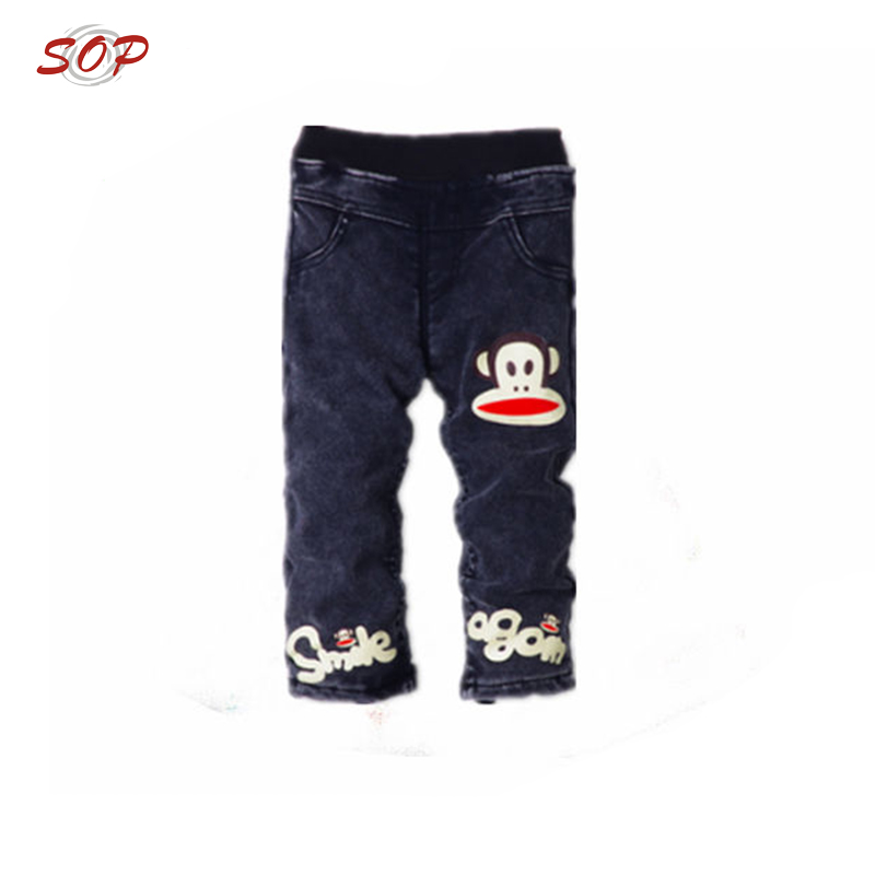 Fashion baby cheap cute monkey animal skinny jeans