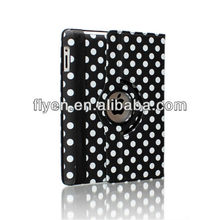 black polka dot 360 Rotating PU Wake/Sleep Leather Case Skin Cover for Apple Ipad Air 5 5th Gen