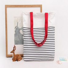 Hot sale nylon foldable high quilted free samplelady slimsy black stripes tote bag
