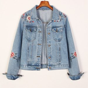NS0661 wholesale women fashion flower embroidery denim jackets