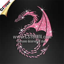 Pink dragon motif rhinestone iron on transfers wholesale