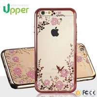 High quality ultra transparent soft tpu phone cover with diamond stone crystal case for apple iphone 4
