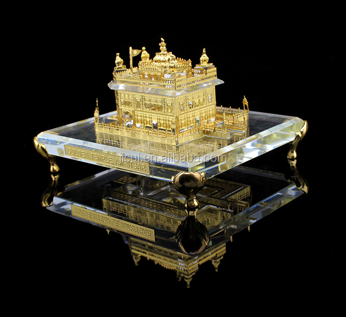 India 24K gold Plated Crystal Golden Temple Model, crystal Sikhism souvenir gift JC-TG <strong>03</strong>