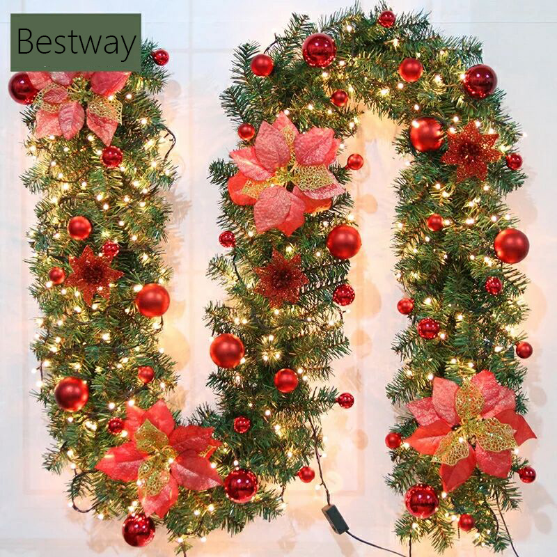 christmas decoration 2018 New Product wholesale artificial christmas LED garland with PVC For Navidad Decoration