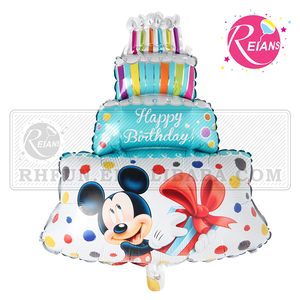 Reians Foil Baby Shower Mickey Minnie Cake Happy Birthday Cartoon Shape Commercial Inflatable Custom