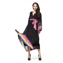 chiffon v neck long sleeves maxi muslim dress