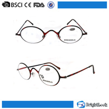 Unisex demi frame metal super slim small round reading glasses