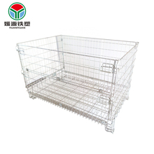 4 wheels logistics wiremesh container storage customized welded secure wire cage with wheel mesh pallet box