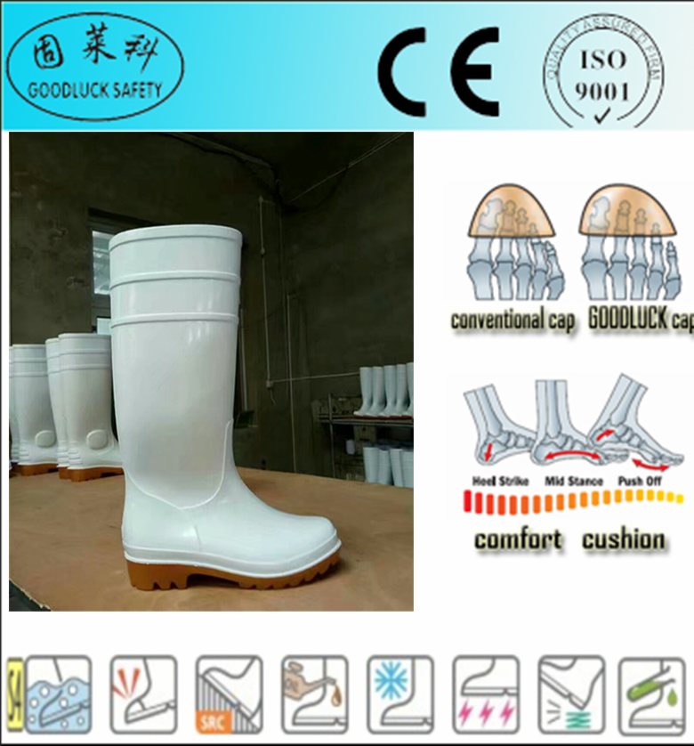 white pvc working boots wholesale food industry safety boots