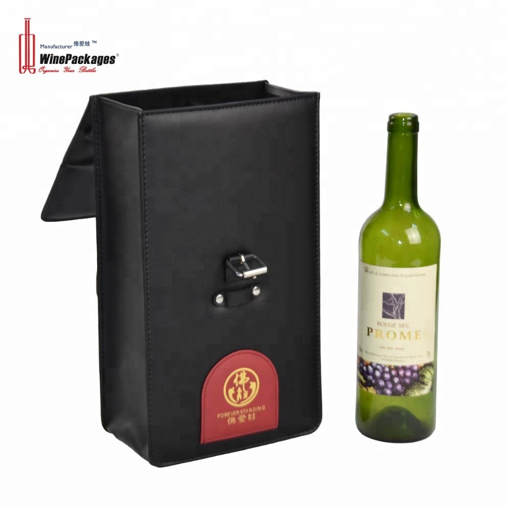Custom rectangle packaging black leather wine gift box