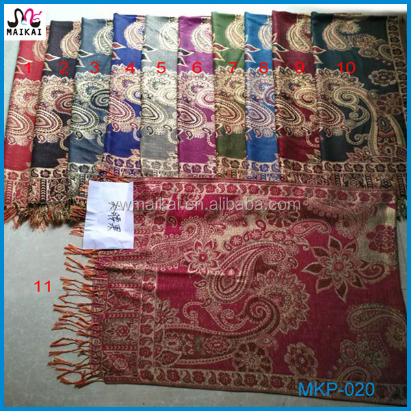 Latest design high quality paisley pashmina african shawl