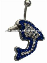 Fake navel piercing body jewel dophin