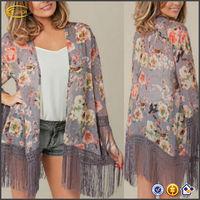 2015 New Women Casual Retro Flower & Birds Print Tassels Loose Kimono Long Cardigan Shirts Blouses lady Top OEM supplier China