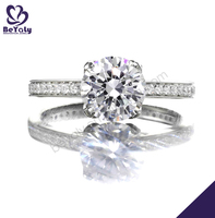 High end aaa cz silver wedding 18k fake diamond ring