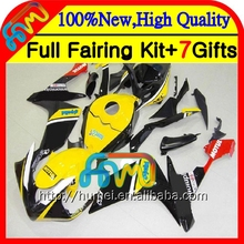Injection Bodys For YAMAHA Yellow black YZF1000 YZFR1 07 08 YZF-1000 9HM-125 YZF 1000 R 1 YZF R1 07 08 YZF-R1 2007 2008 Fairing