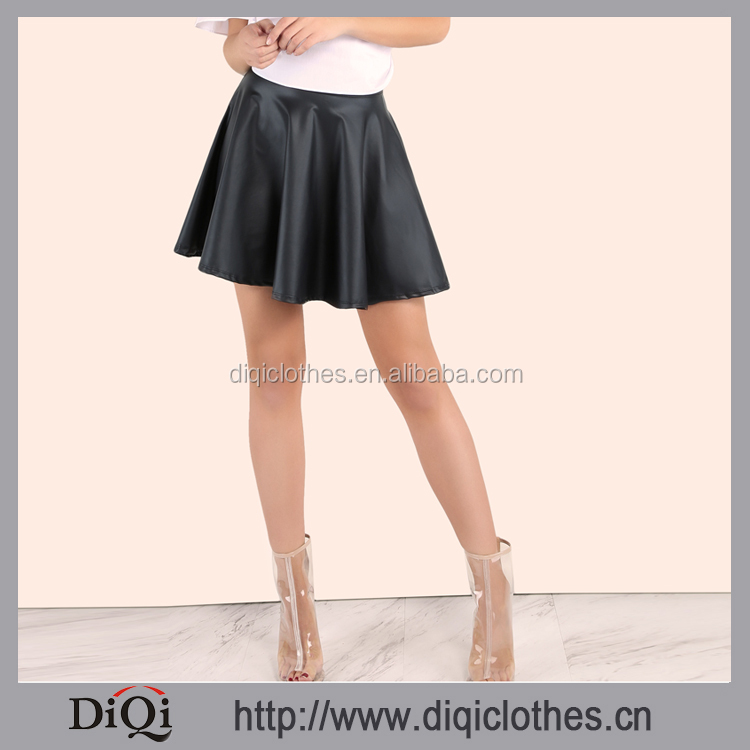 2017 Stylish Wholesale Factory Price Women Faux Leather Zip Skater Skirt BLACK