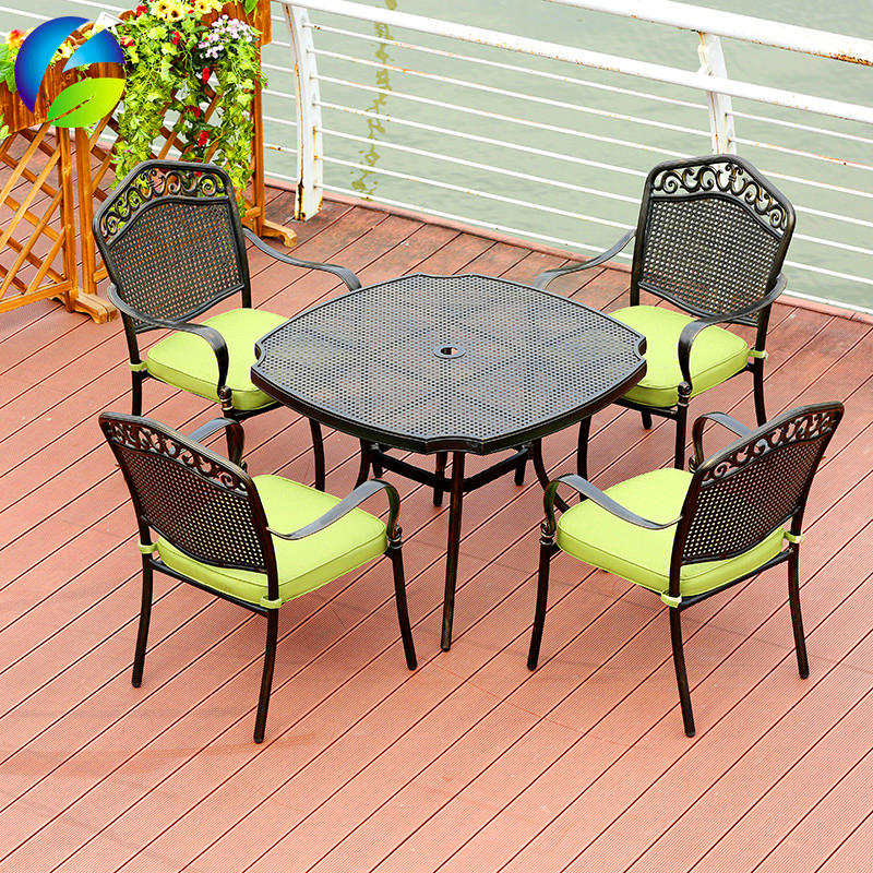 Factory price outdoor cast aluminum square table and 4 chairs sets for balcony  for  garden park