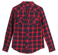 Custom logo Ladies cotton checked blouse print flannel red checks printing shirt