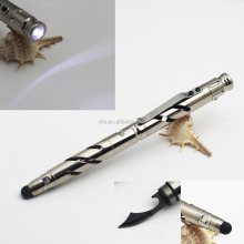 factory wholesales 4 in 1 tools pen self defense pen LED flashlight/knife/stylus tactical pen