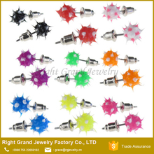 Fashion Silicone Mixed Color Spike Ball Earring Studs For Girls