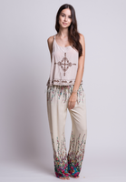Hot Wholesale Floral Printed Wide Leg Casual Pants For Women