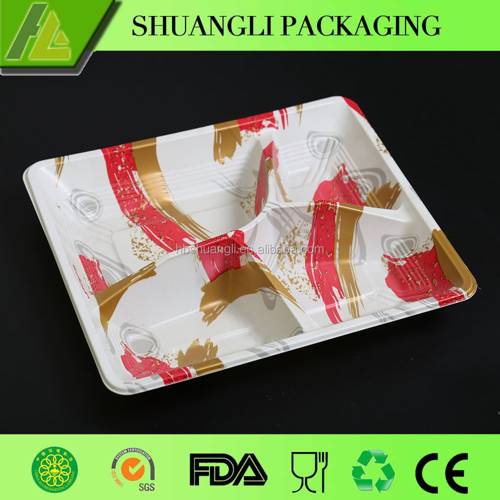 4 Compartments blister process plastic food tray