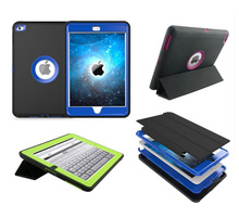 Triple foldable wake sleep leather cover for iPad air 2 iPad 6 defender case full mobile housing