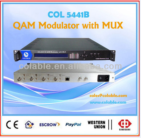 integrated device scrambled qam modulator with ts multiplexer, 16 ASI to 4 RF modulator COL5441B