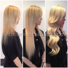 Remy hair color 613,long straight european hair extensions