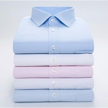 High Quality Men's Office Dress Long-Sleeved White Shirt Solid Color Slim Type Shirt