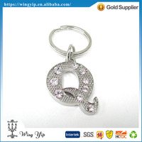Tailor made hot sales Letter Q Crystal Metal Promotion Keyring