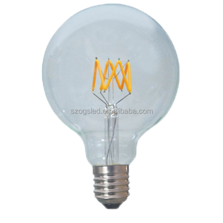 Wholesale G95 Clear GlassDimmable LED Light Bulb with E27 Lamp Base for home lighting