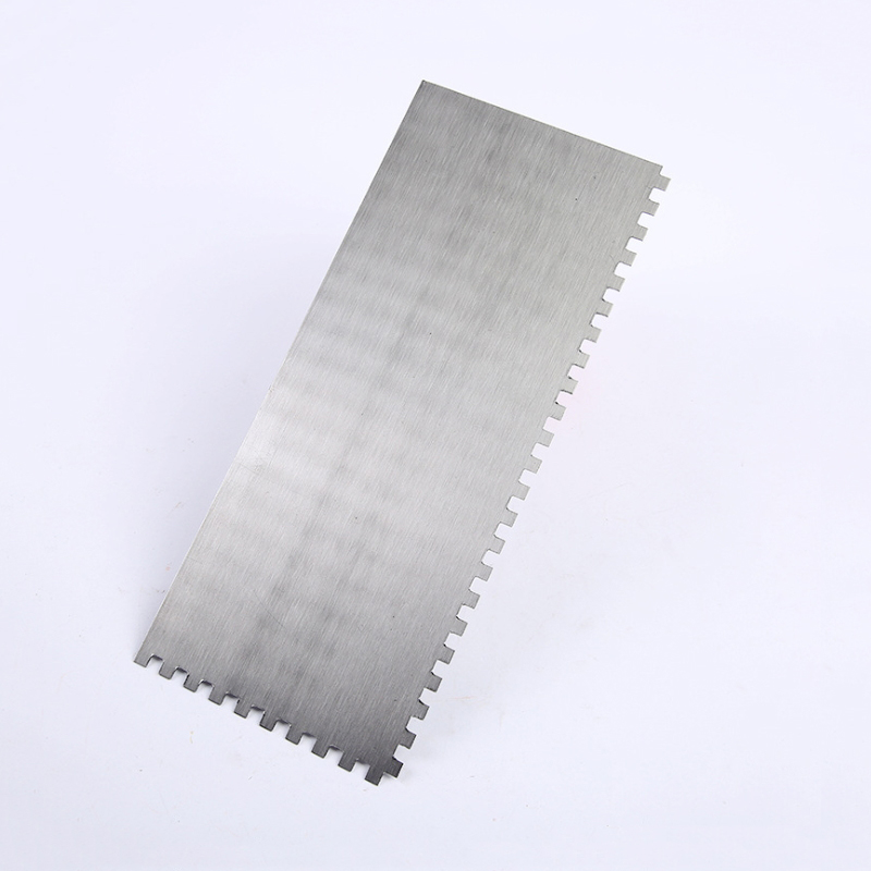 Flat Smear Stainless Steel Trowel, Building Tool Square Serrated Trowel T-12