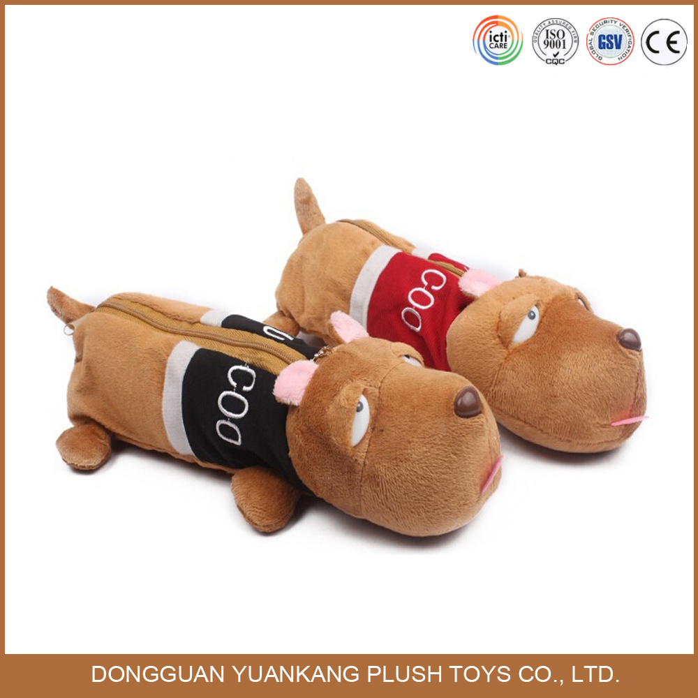 Plush animal shaped toy pencil case