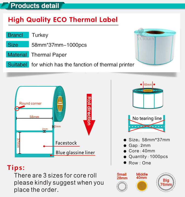 supermarket weighing scale label 58x37mm adhesive label thermal sticker roll 38x25