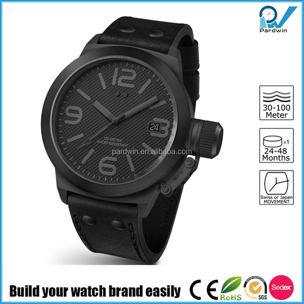 Build your watch brand easily man stainless steel watch faces sapphire big case calendar function