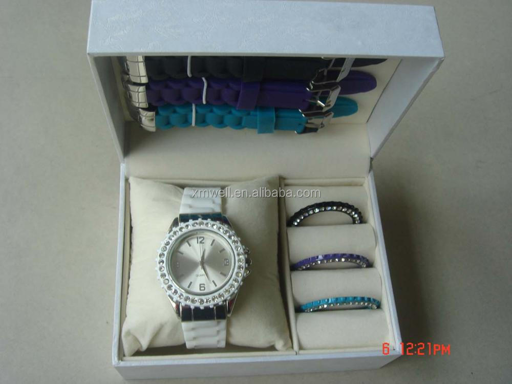 Own Unique Luxury Design Ladies silicone changeable strap watch gift set