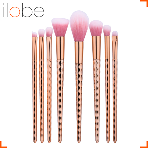 GUJHUI 8pcs new wave pattern <strong>handle</strong> rose gold makeup pink blush brush