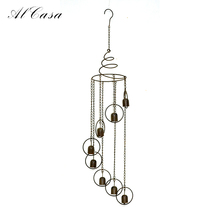 Wall hanging home & garden decor antique outdoor metal 8 bells wind chimes spinners