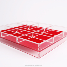 cube square plexiglass lucite large counter display case / acrylic gem jewelry display box with dividers red pad