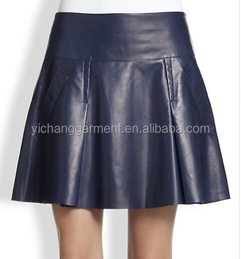 Lady A-lined Pleated Genuine Short Leather Skirt