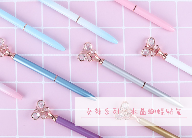 Custom promotional eco metal pens with crystal