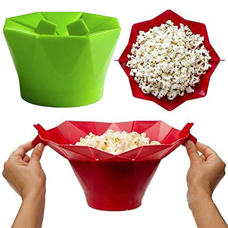 Food Grade BPA free Collapsible Microwave Popcorn Popper, Silicone Air Popcorn Maker
