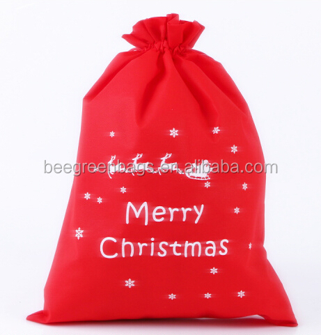 190T Polyester drawstring pouch design cheap christmas gift bag