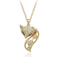 Allencoco fashion jewelry animal fox Italina pendant necklace, gold plated fox neckalce for girls