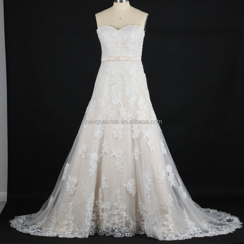 Real pictures of latest 2016 A-line wedding gowns lace applique china factory wedding dress