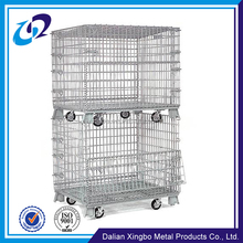 China manufacturer supplier warehouse storage heavy duty movable wire container with casters