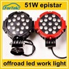 round 7 inch 12v/24v off road 51w led tractor working lights for cars