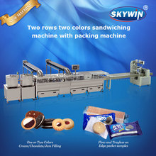 Newest Biscuit Creaming Sandwich Machine with Biscuit Wrapping Packing Machine